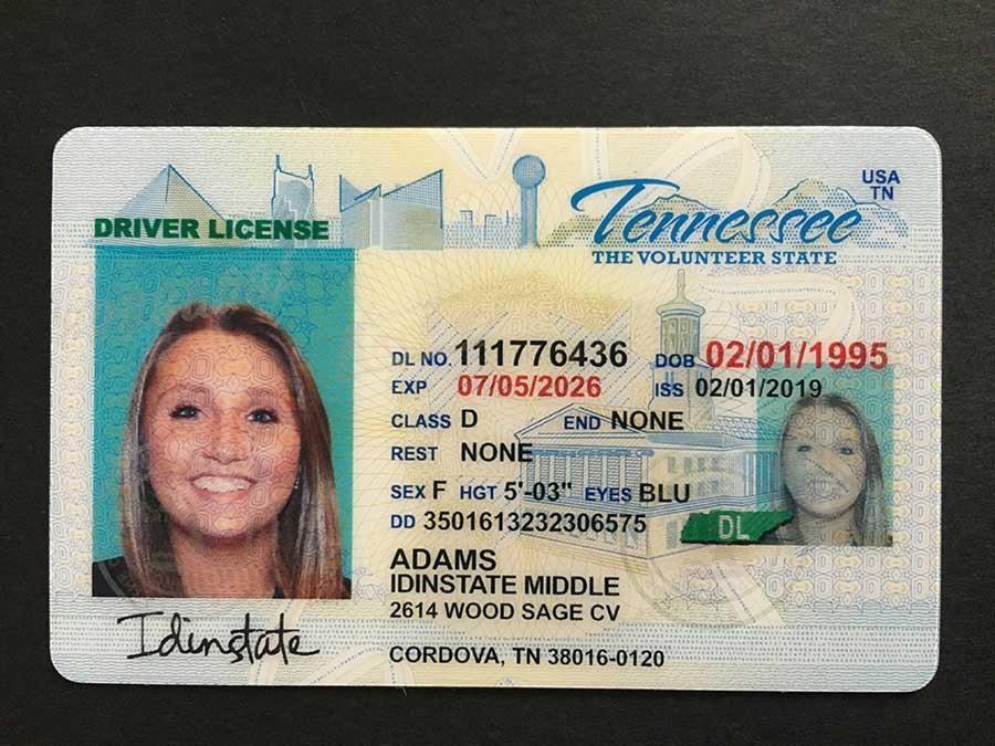 New Tennessee Fake Driver license